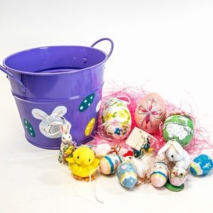 Bucket of Easter Ornaments/Decor